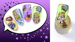 Trendy nail art in bright colours, cartoon style