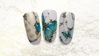 Stamped aquarelle butterflies with crystal stones