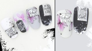 Aquarelle flowers with stamping and spider gel