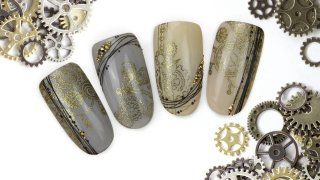 Steampunk stamping decorated with spider gel