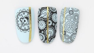 Nail art with stamping in steampunk style