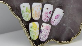 Gradient stamping patterns with crystal stones