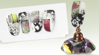 Stamping nail art with colour gel and sticker