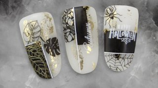 Golden autumn nail art inspired by Halloween