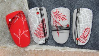 Multilayer stamping nail art inspired by nature