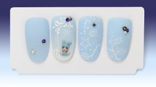 Winter nail art with stickers, painting, stamping