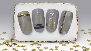 Gold and grey nail art for winter holiday