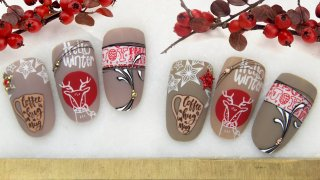 Winter nail stamping with crystal stones