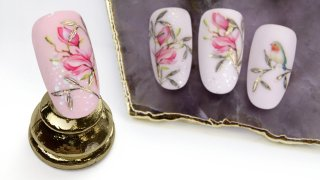 Magnolia nails with sticker, stamping, nail foil