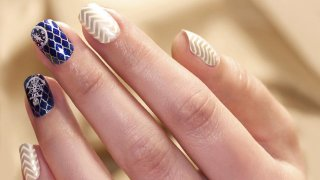 Summer Nails With Stamping - Marine Nails