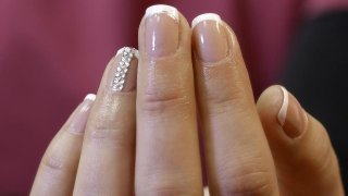 French Manicure With Guide And Stones