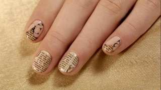 Newspaper Nail Design On Short Nails