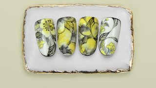 Contoured smoky marble flowers stamped and painted