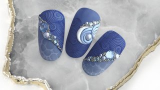 Stamped blue waves with colour gel, crystal stones