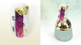 Nail foiled butterfly and flowers with stamping